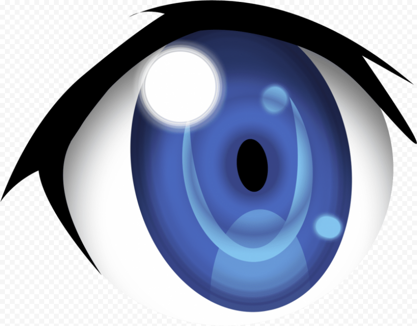blue anime eyes PNG image with transparent background