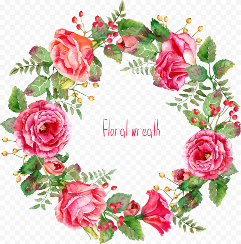 pink flowers euclidean vector beautifully painted rose wreath border