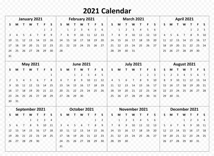 Calendar 2021 PNG Image Free download