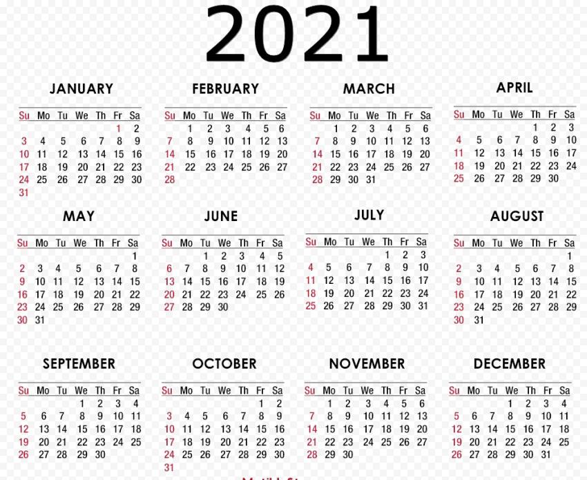 Calendar 2021 PNG HD Free download