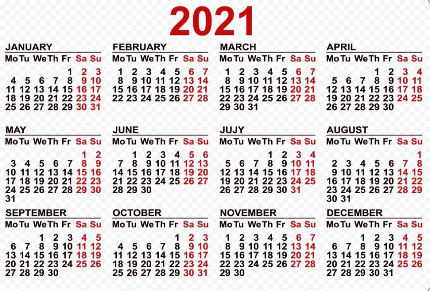 Calendar 2021 PNG Pic Free download