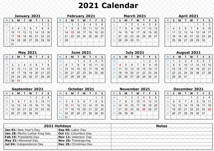 Calendar 2021 PNG Photo Free download