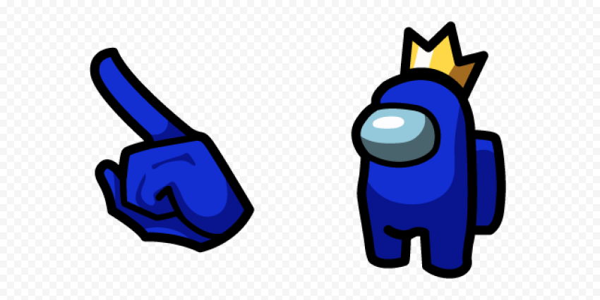 among us blue character in crown pack
