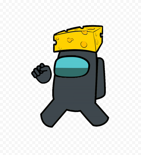 Transparent Background Black Among Us Character With Cheese PNG
