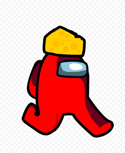 Transparent Background Cheese Hat Among Us Red Character PNG