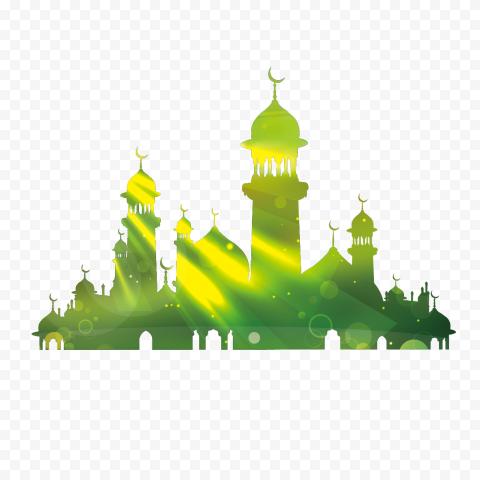 kaaba eid al fitr eid mubarak eid al adha illustra vector green building