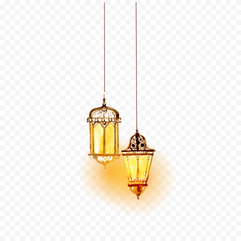Lighting Islam, Beautiful watercolor Islamic lighting, two hanging lamps, watercolor Painting, watercolor Leaves, lantern png